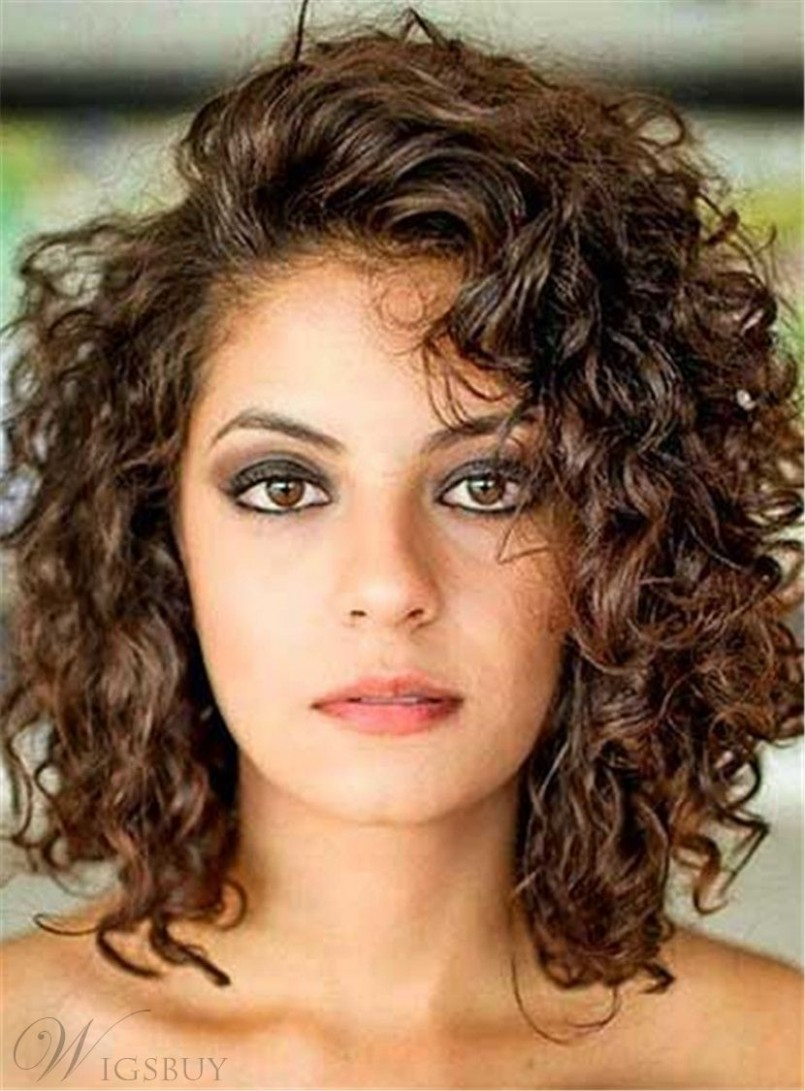 Side Swept Bangs Curly Mid Length Human Hair Lace Front Wigs 12 Curly Side Bangs