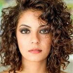 Side Swept Bangs Curly Mid Length Human Hair Lace Front Wigs 12 Side Bangs Curly Hair