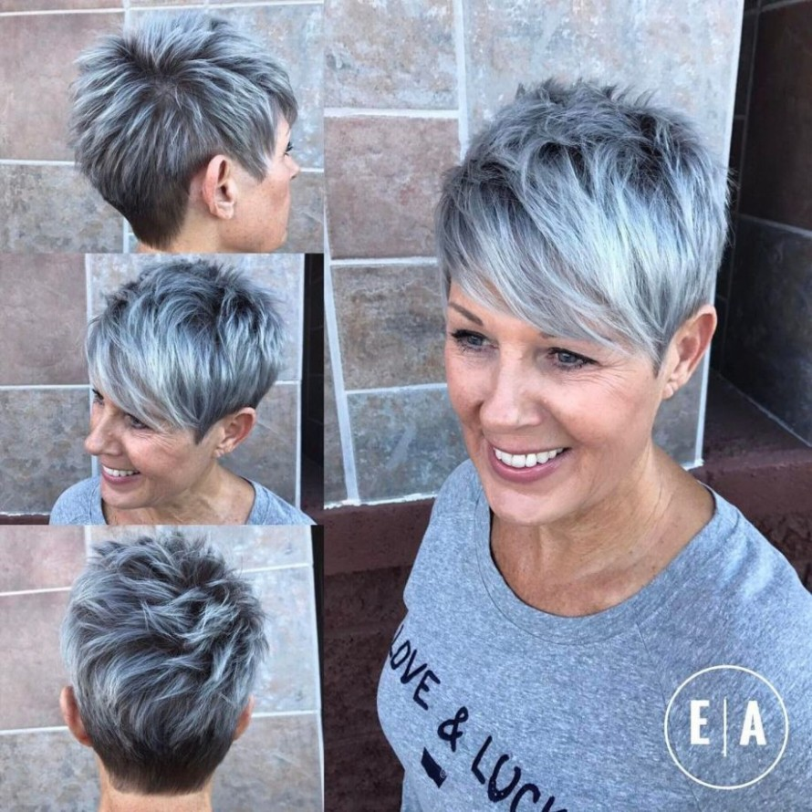 Spiky Gray Balayage Pixie For Women Over 12 Short Hair Trends Balayage Pixie Cut