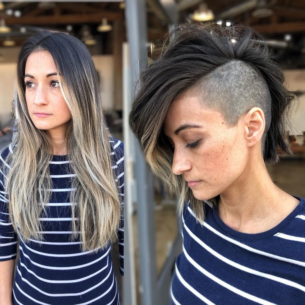 The 9 Coolest Shaved Hairstyles For Women Hair Adviser Shaved Sides Long Top Female