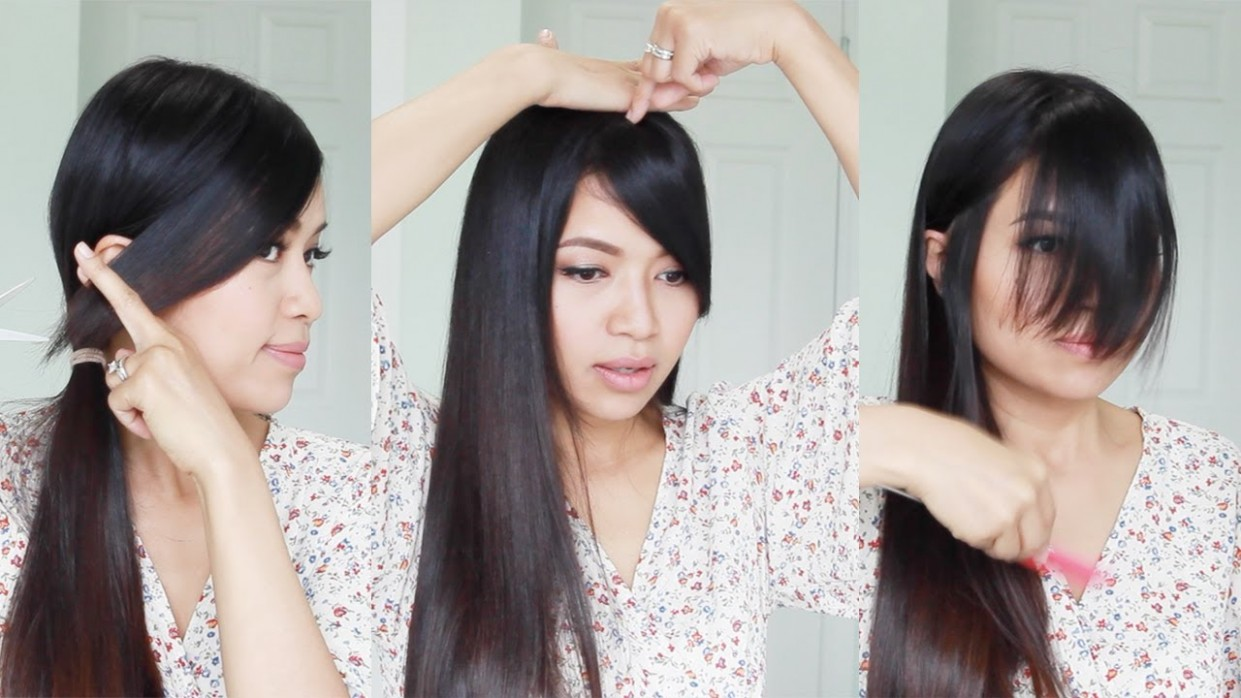 The Best Hair Hack ♥ How To Cut Side Swept Bangs At Home Side Bang Styles