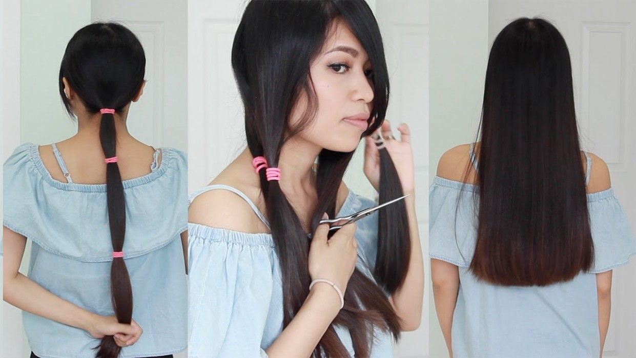 The Best Hair Hack ♥ How To Cut Your Hair Straight At Home Cutting Long Hair At Home