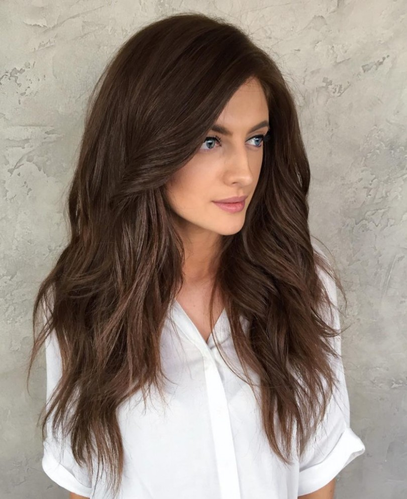 Voluminous Long Layered Hair with Big Messy Waves and Brunette