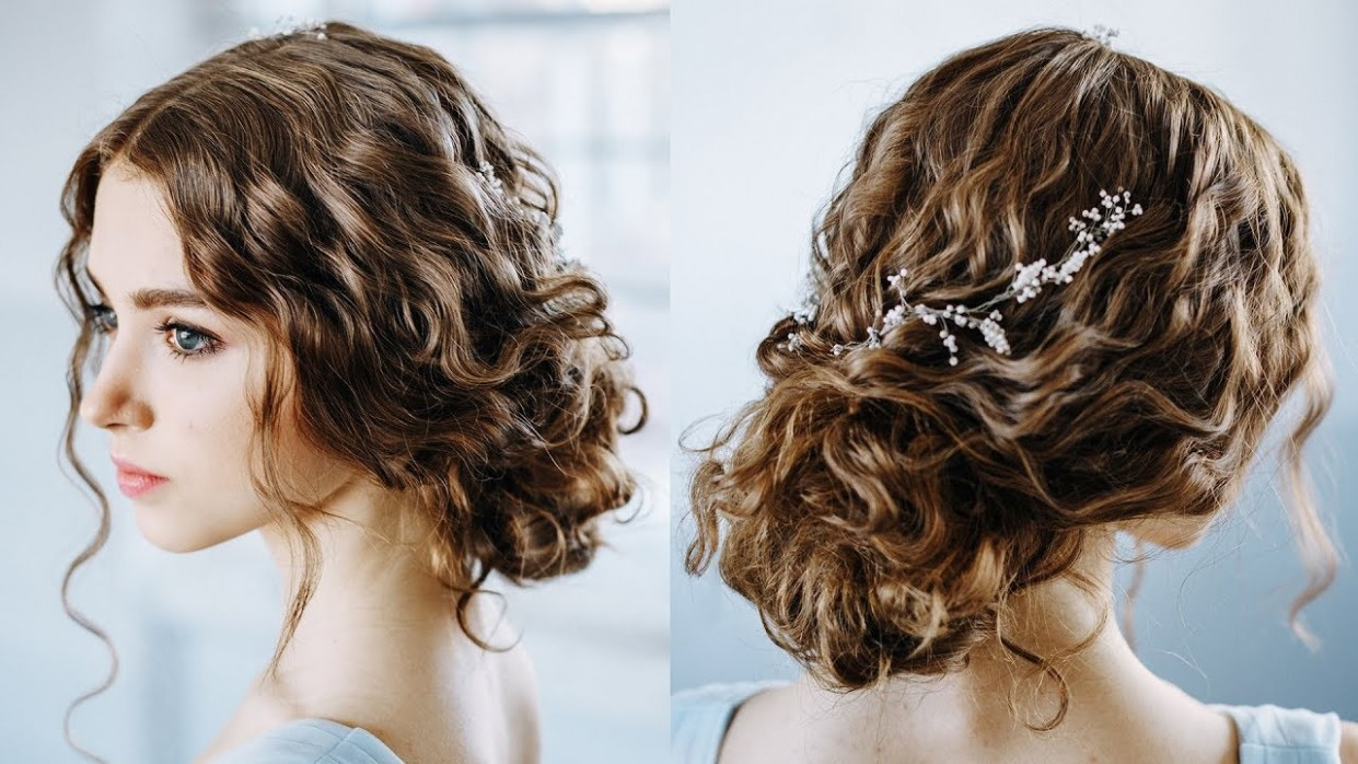 Wavy Curly Hair Tutorial Elegant Curly Bun Easy Updo Hairstyles For Everyday And Prom Formal Hairstyles For Curly Hair